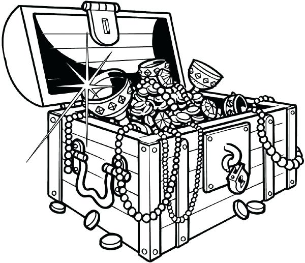 Refundable treasure chest open. Pirates clipart outline banner free library