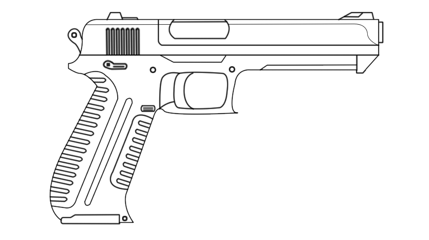Drawing photos gun. Collection of pistol