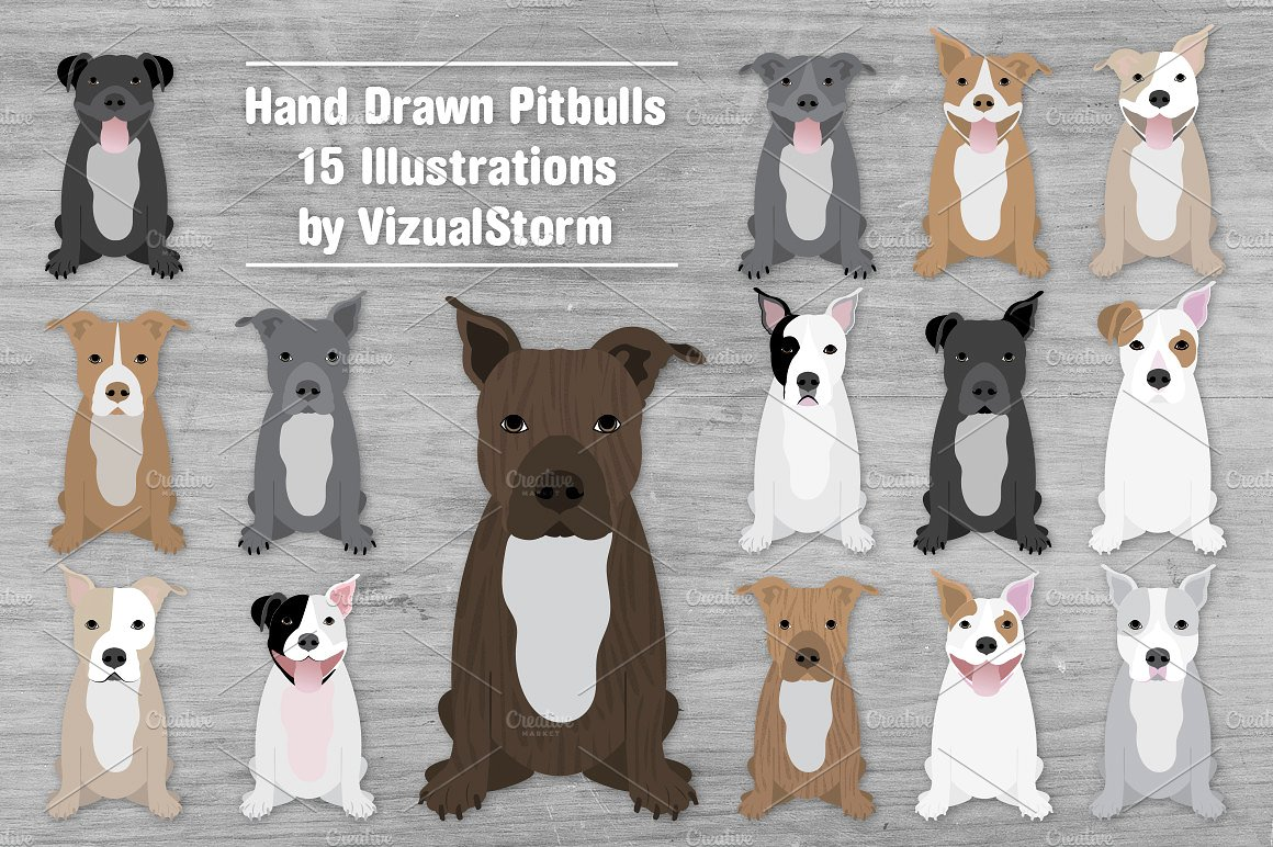 Pitbull clipart brindle dog. American terrier illustrations creative