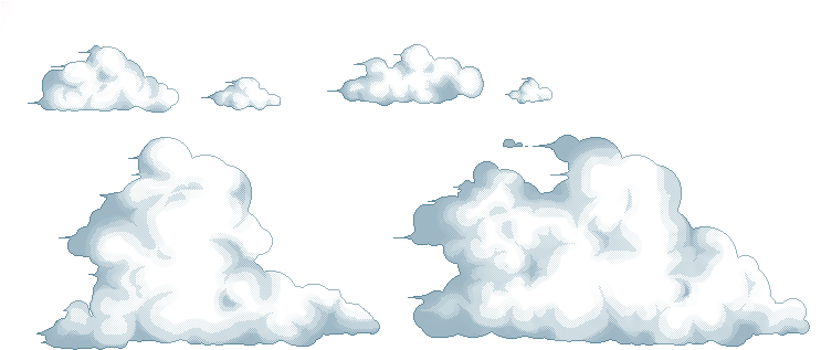 Pixel art clouds png. Download tutorial image with