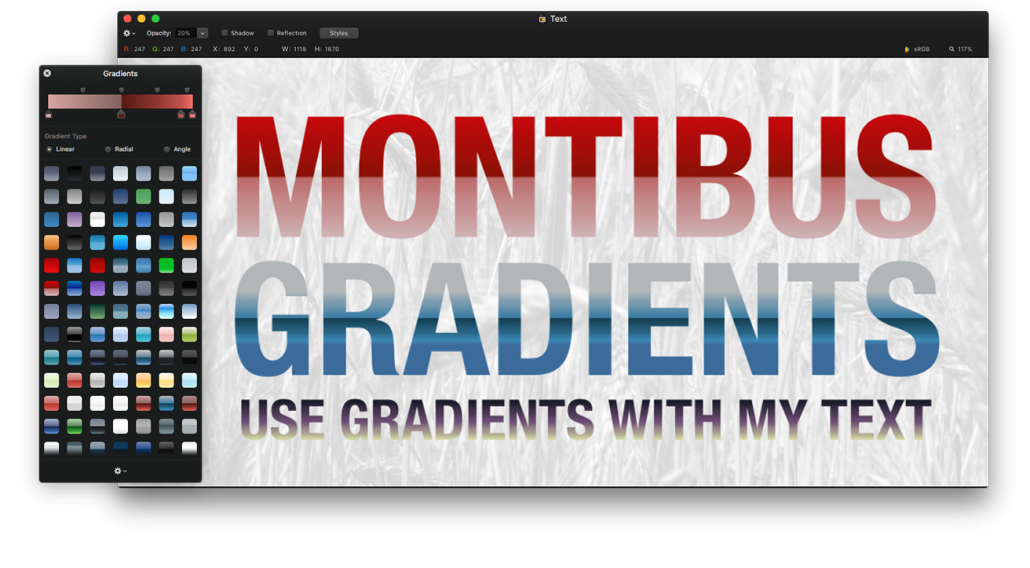 Pixelmator vector app. Brushes shapes gradients and