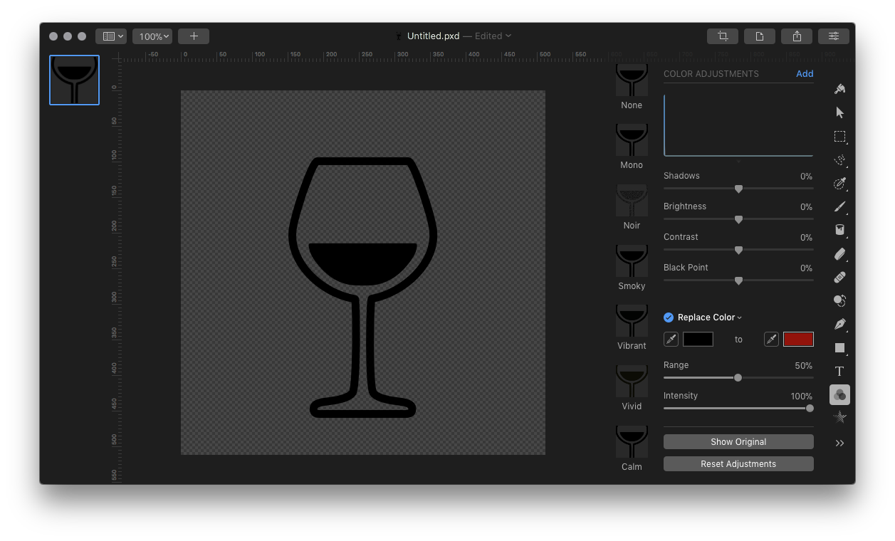 Pixelmator vector pro. Replace colors is apparently