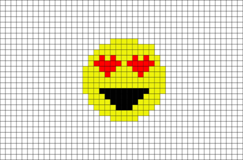 Pixels drawing emoji. Smiling face with heart