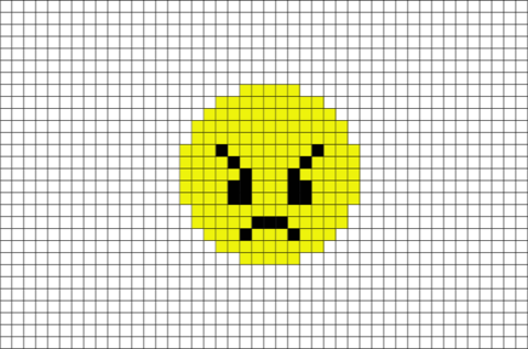 Pixels drawing emoji. Angry face pixel art