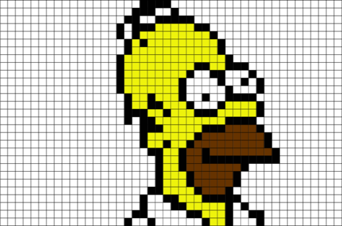Pixels drawing simpson. Homer pixel art thesimpsons
