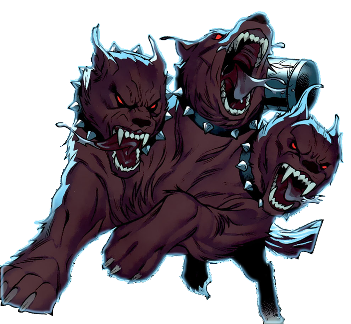 Pixels drawing villain. Image cerberus dog like