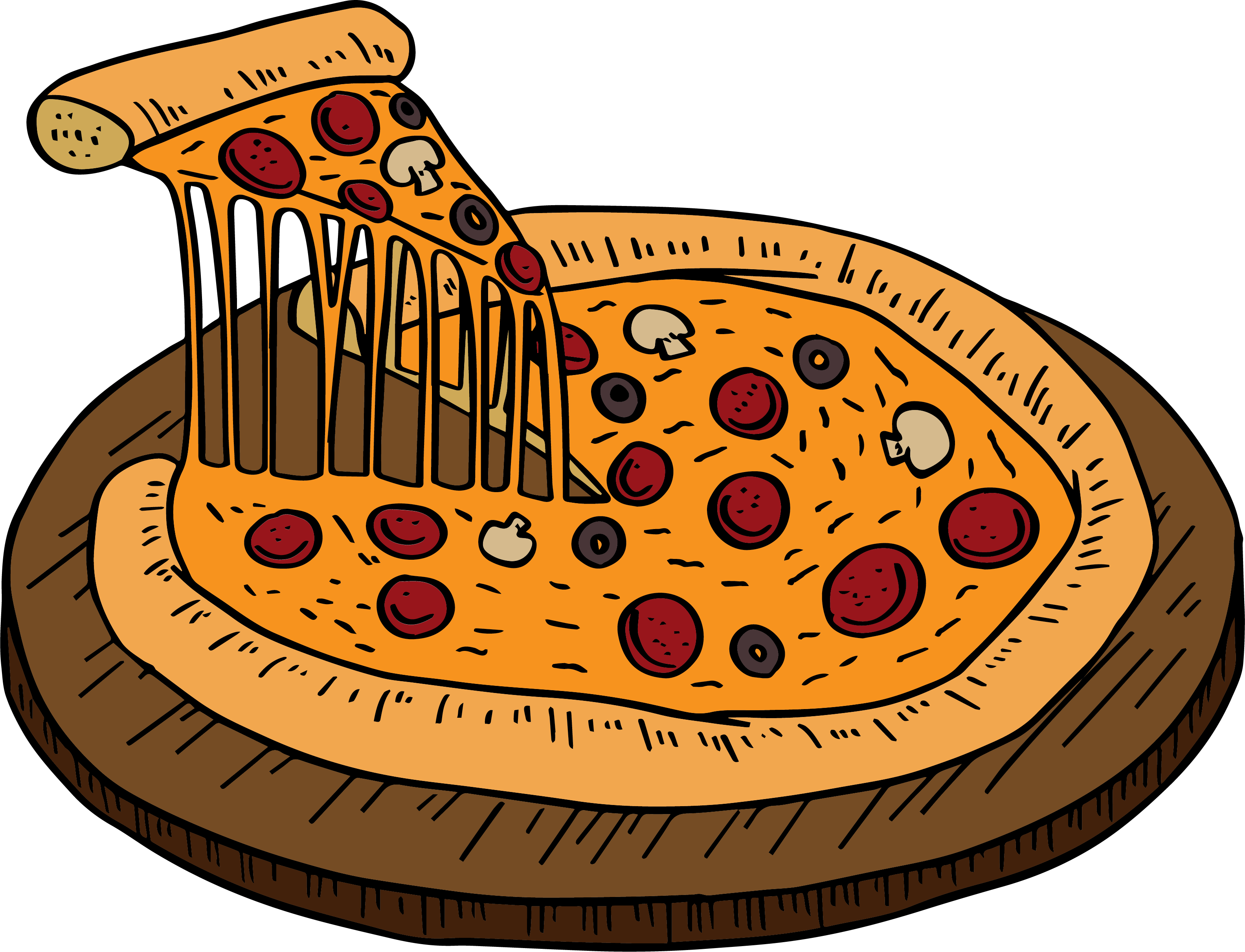 Pizza clip illustration. Fast food hand painted