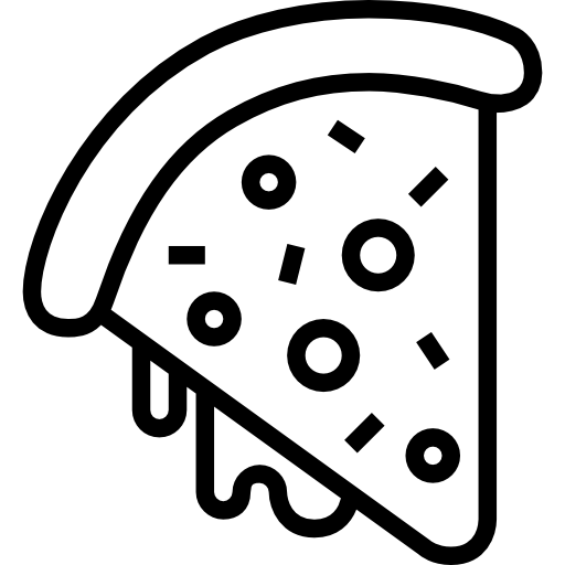 Baker drawing pizza shop. Slice free food icons