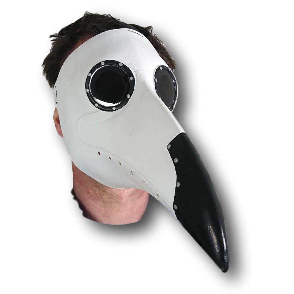 Plague doctor mask png. White black rubber johnnies