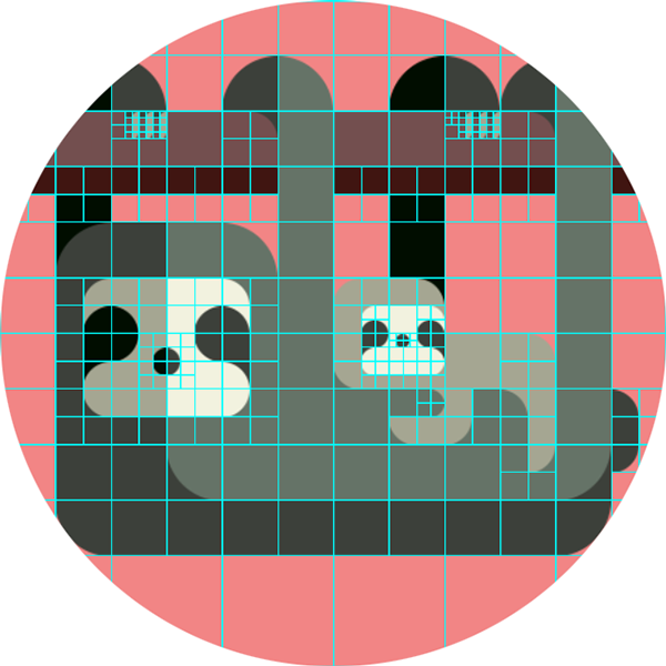 Plaid drawing. Animal set with a