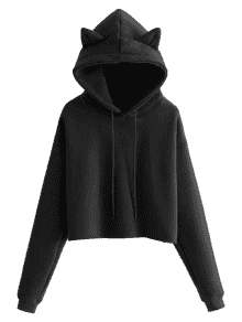 Hoodie transparent plain black. Cat cropped in