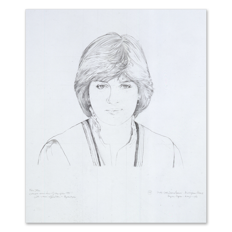 Planar drawing self portrait. Of diana princess wales