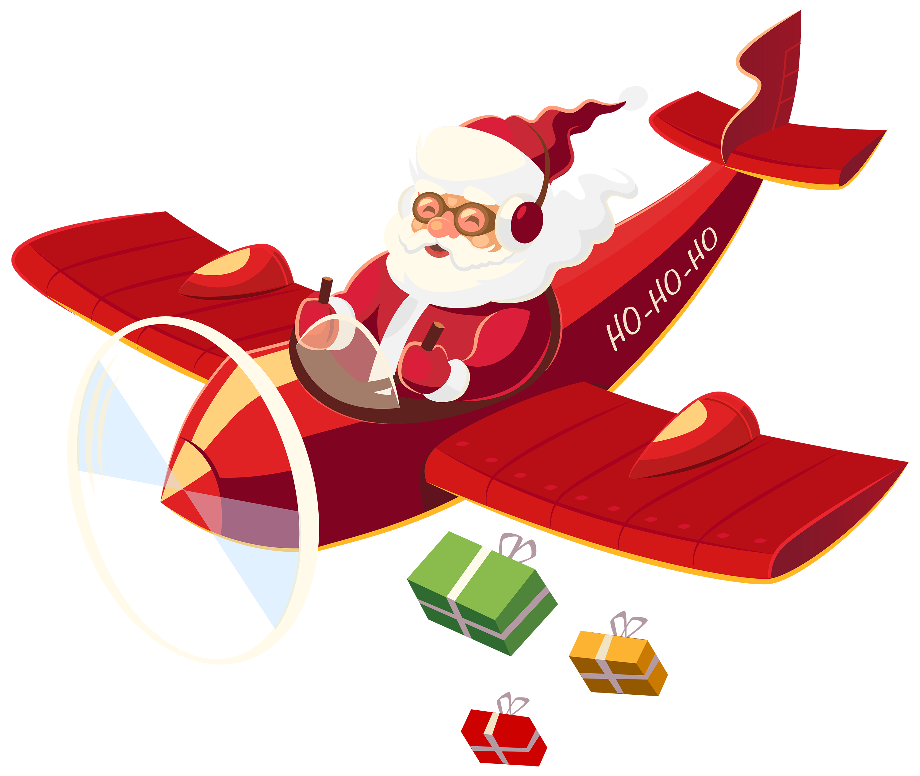 Plane clipart turbine. Santa claus with png