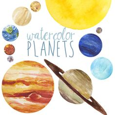 Planet clipart outter. Original solar system watercolor