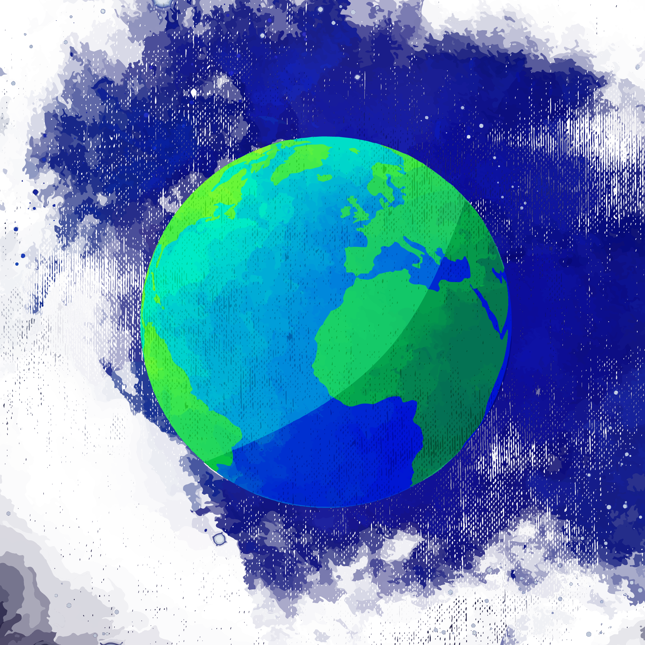 Planet svg watercolor. Earth painting vector sky