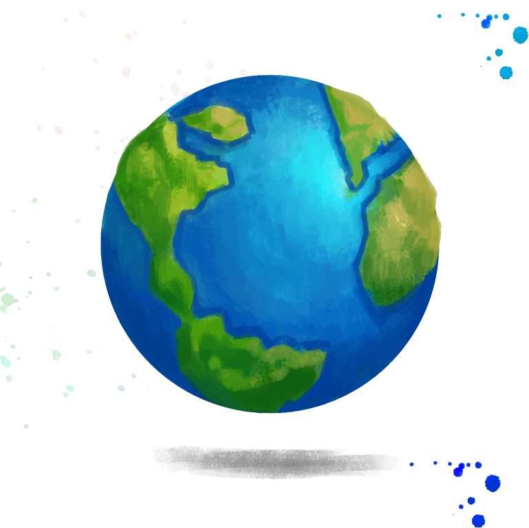 Planet svg watercolor. Earth creative drawing transprent