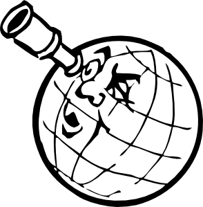 Planet with spyglass clip. Planeten clipart jpg free