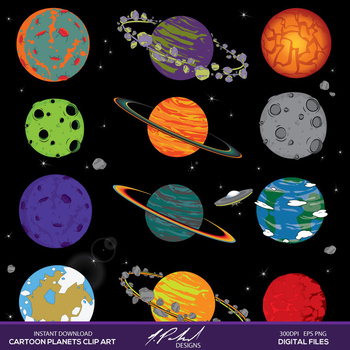 Planets clipart 8 planet. Cartoon in outer space