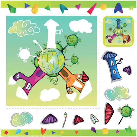 Planets clipart collage. Cartoon planet with houses