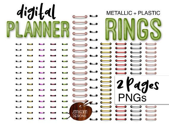 Planner clipart 3 ring. Digital binder bundle personal