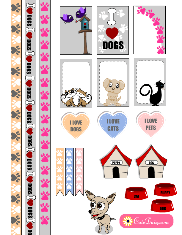 Planner clipart printable. Free pets themed stickers