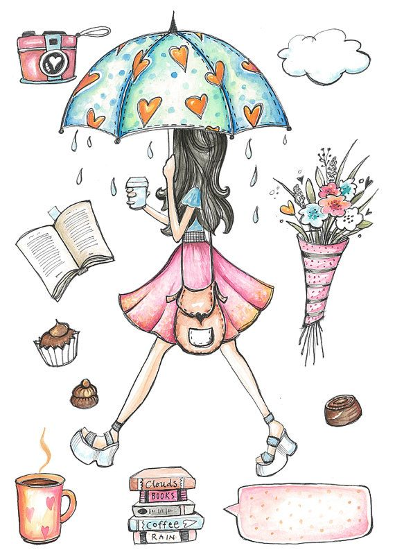 Planner clipart printable. Rainy day hand painted