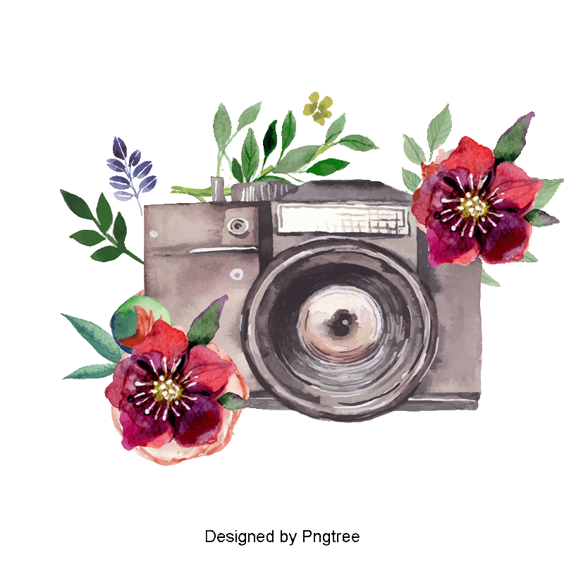Camera clipart floral. Beautiful watercolor hand painted