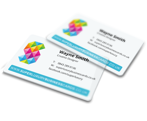 Plastic white business cards png. Printed full colour ink