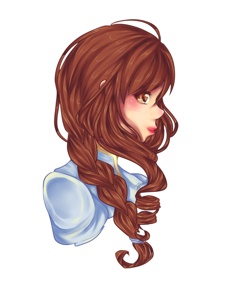 Side drawing long hair. Collection of free braids
