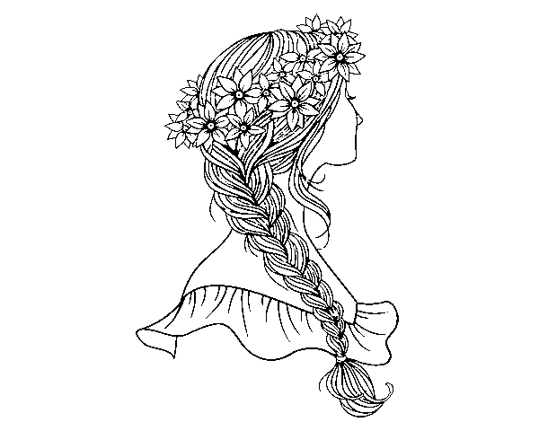 Plat drawing long braid. Hairstyle with coloring page