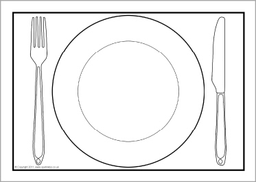Plate clipart plate outline. Dinner a editable templates