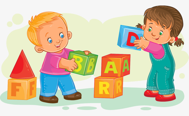 Blocks clipart toy kids sharing. Illustrator playing children play