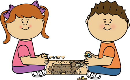 Puzzles clipart. Kids putting puzzle together