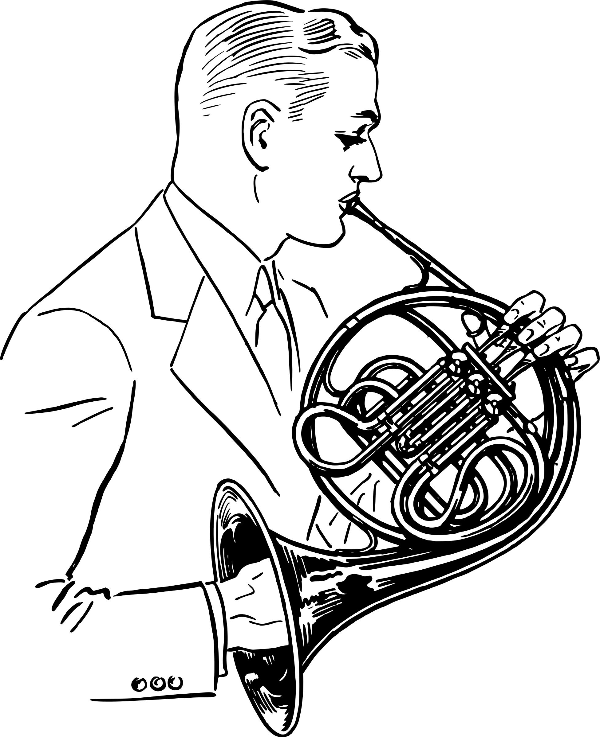 Man playing the icons. Player clipart french horn player picture library
