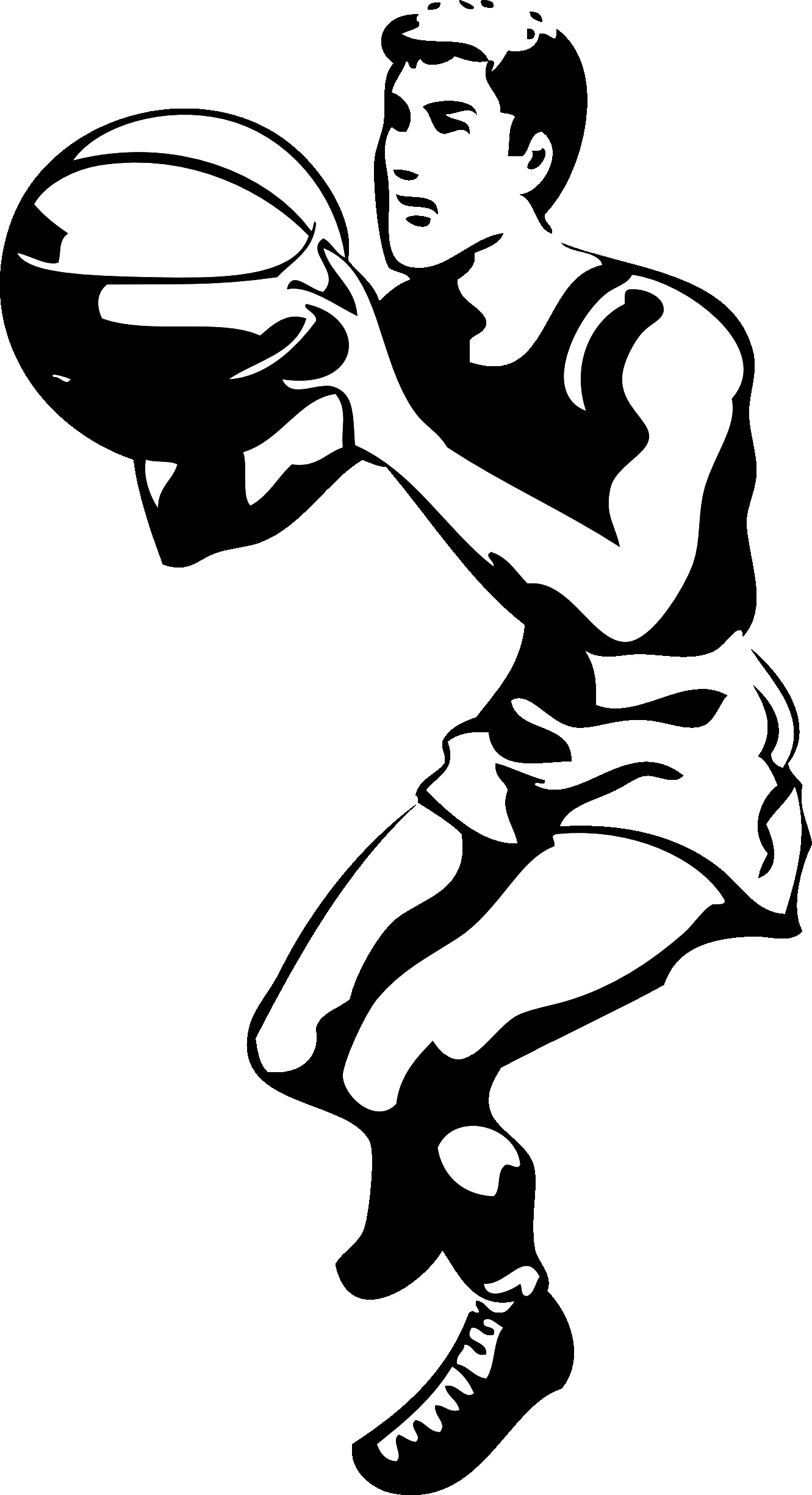 Players clipart black and white. Basketball player panda free