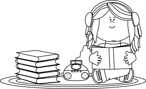 Players clipart black and white. Girl listening to a