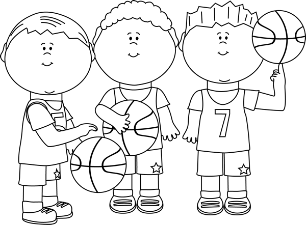 Players clipart black and white. Boy basketball clip art