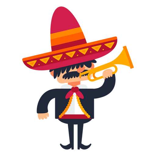 México png mariachi. Playing trumpet cartoon transparent