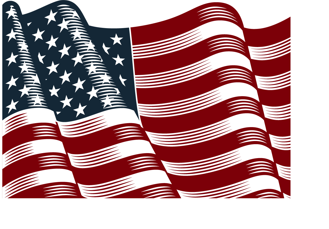 Png american flag. Vector hand painted transprent