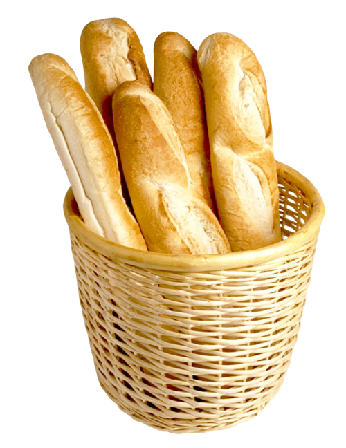 Png baguette. French bread in basket