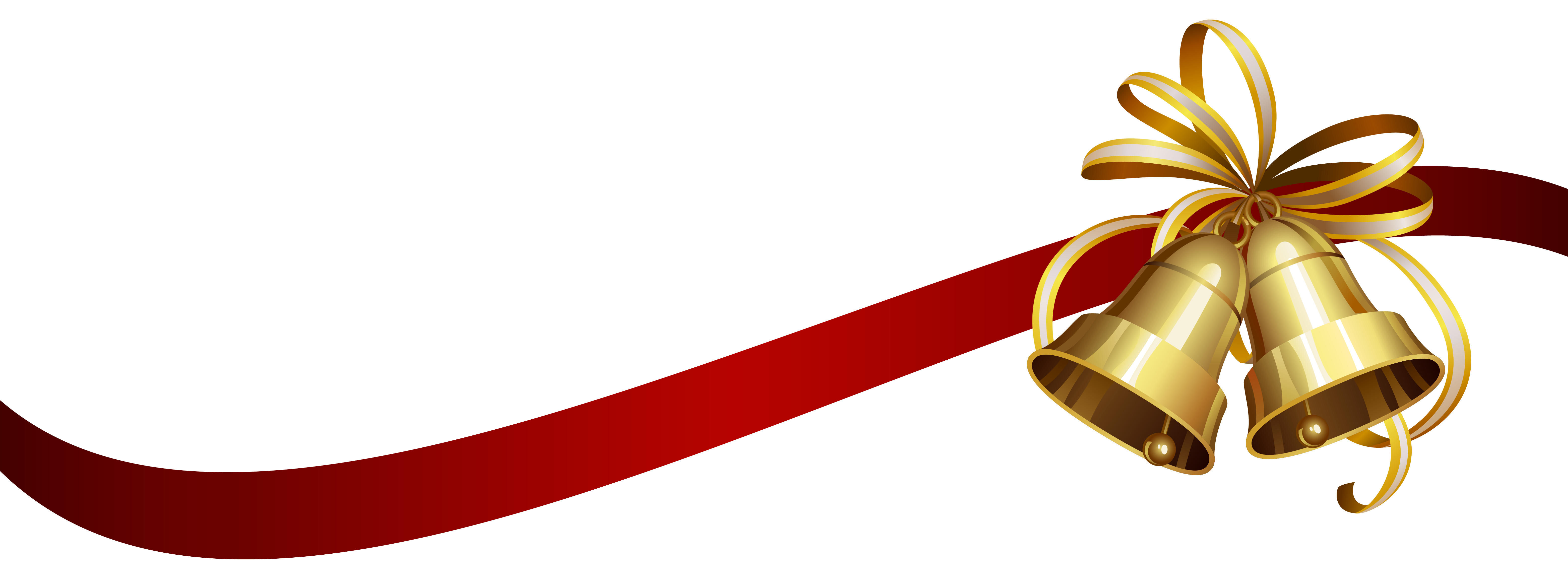 Christmas ribbon border png. Bells with transparent clip