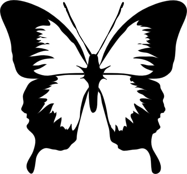 Png black and white. Butterfly clip art at