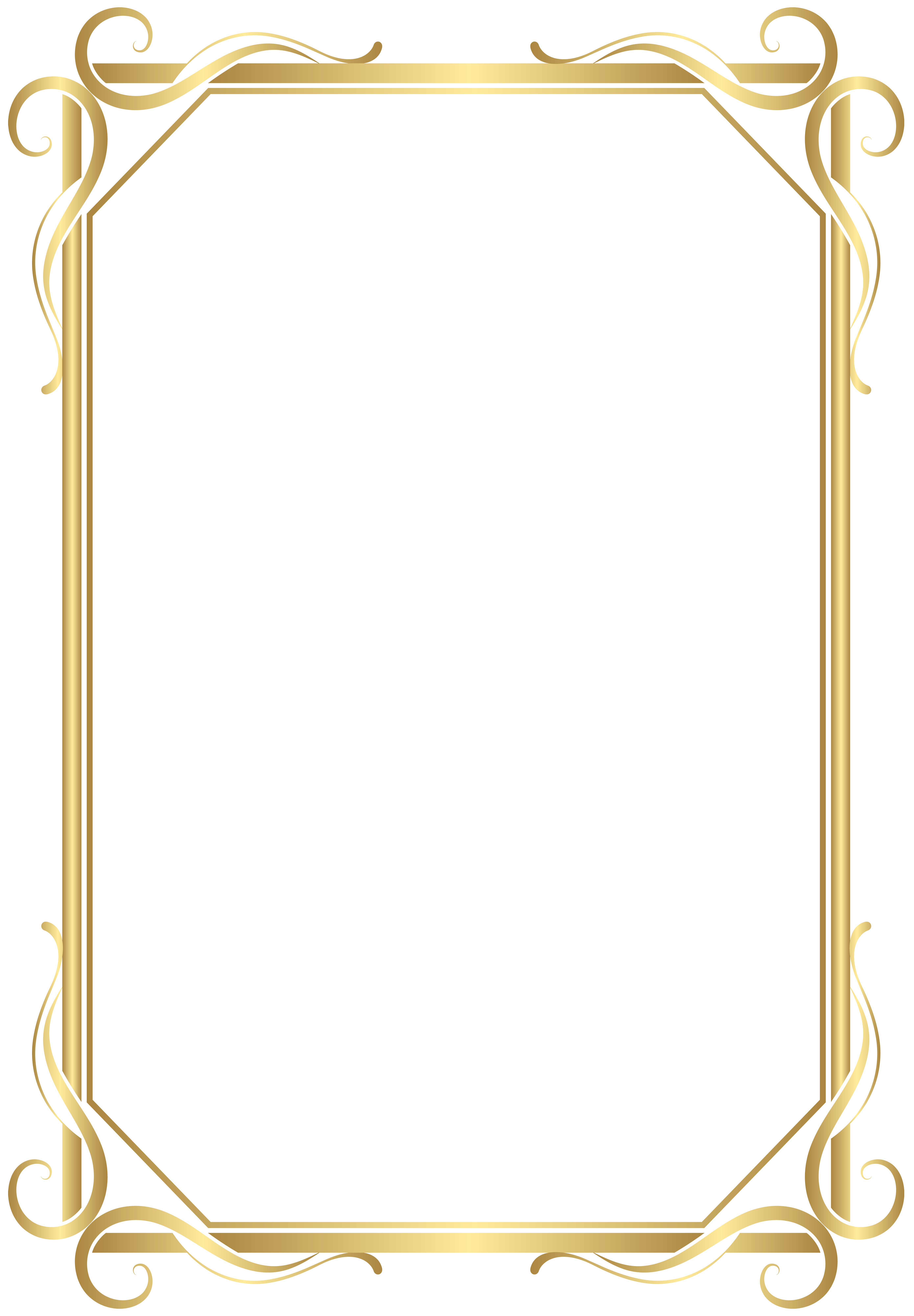 Classic vector thin gold frame. Border transparent png image
