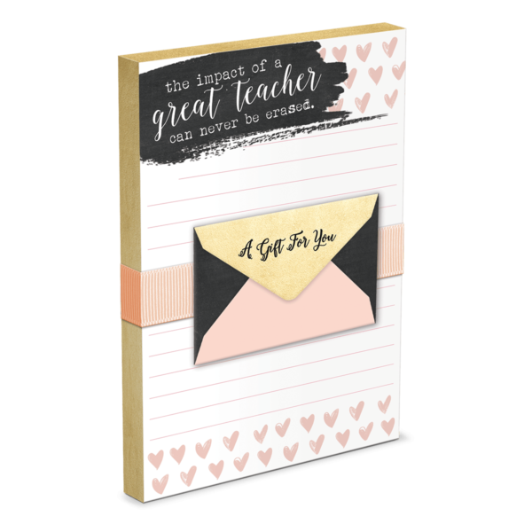 Png chalk gift card. Hearts teacher note pad