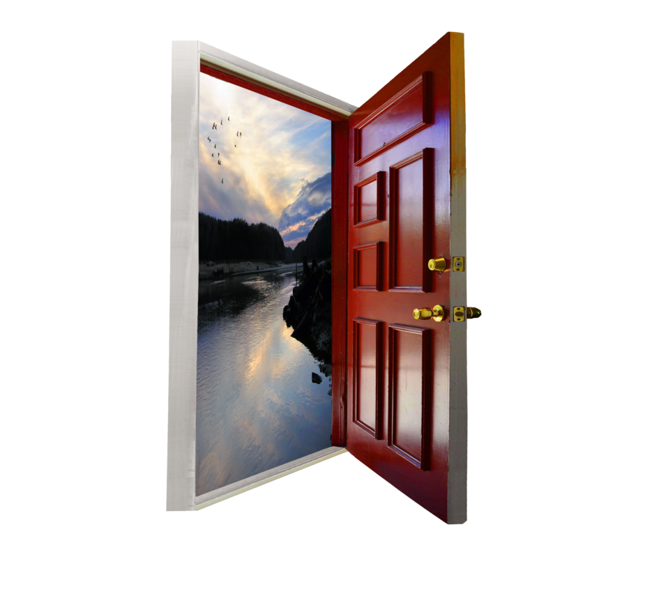 Photoshop open png. Door with added landscape