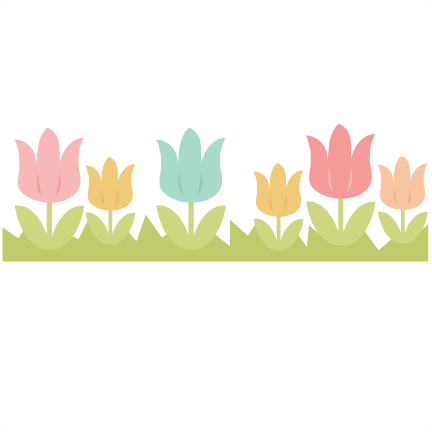 Border cutting file easter. Tulip svg banner black and white library