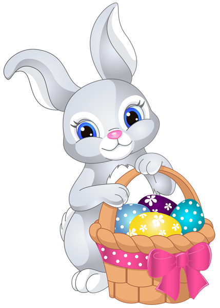 Bunny with egg basket. Easter clip rabbit png free download