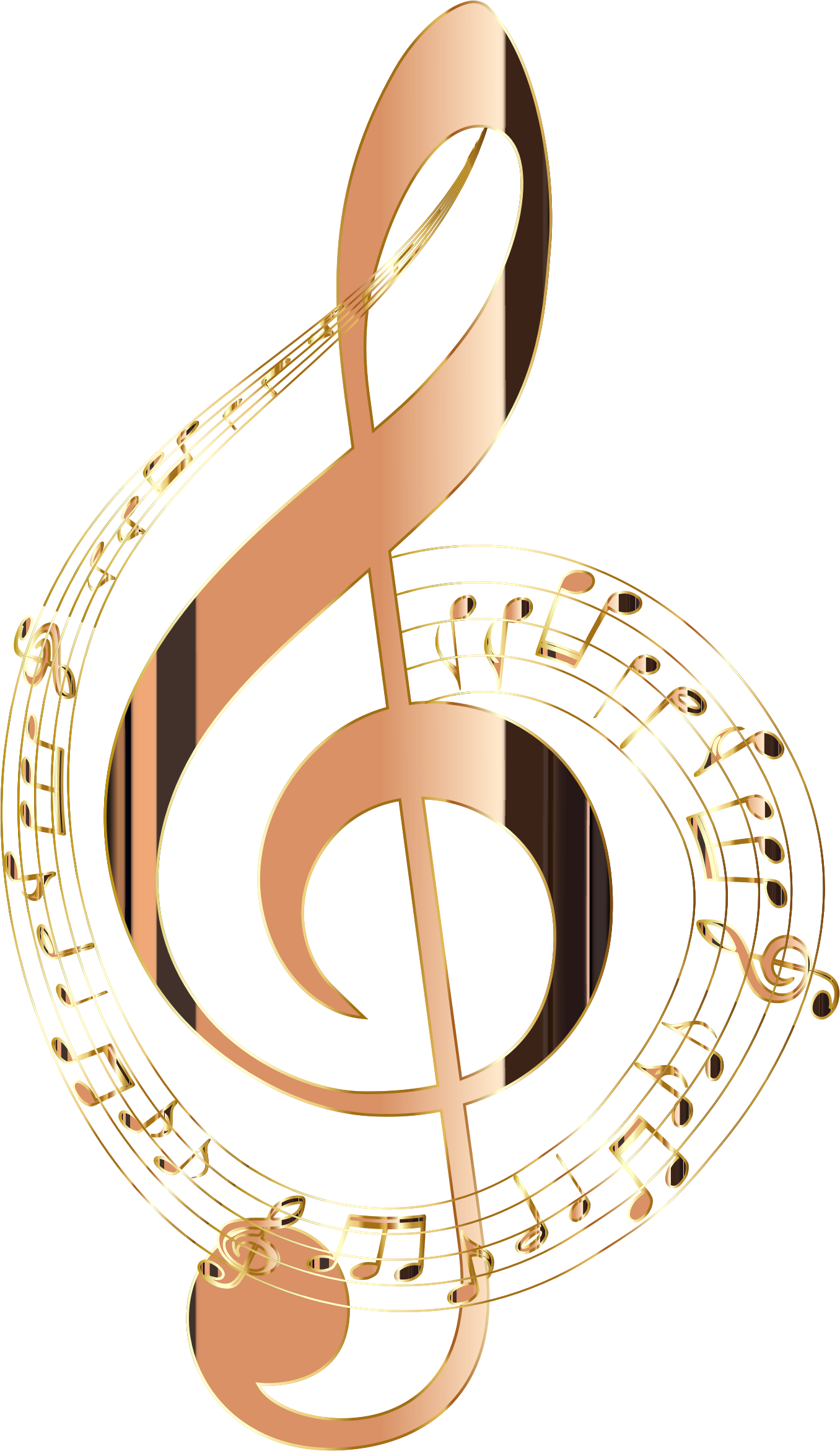 Png file format of music notes no background. Shiny copper musical typography