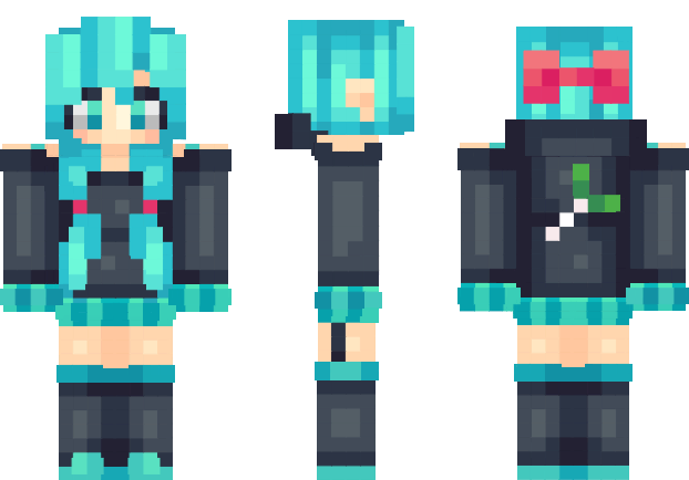 Png files for minecraft skins. Hatsune miku skin pinterest