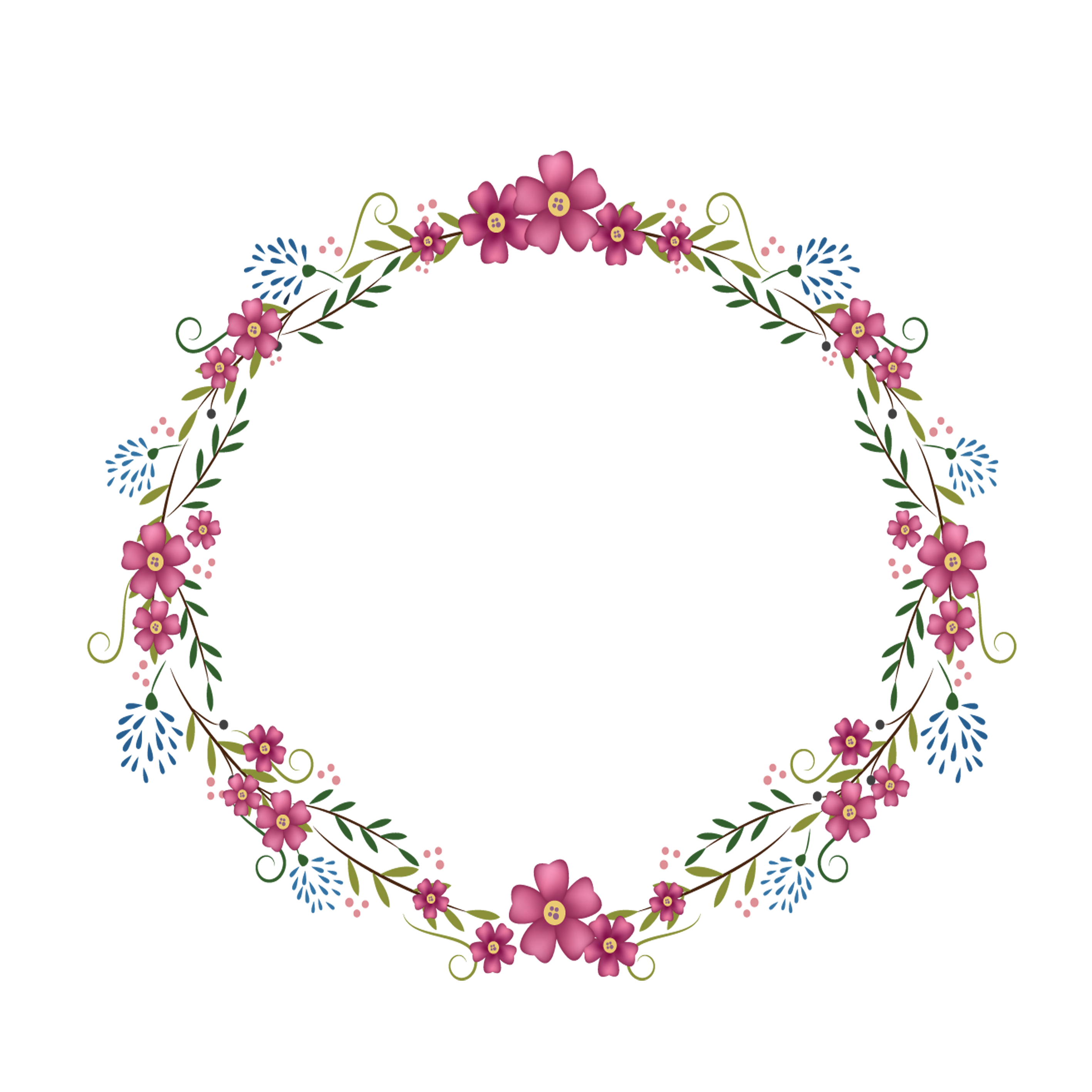 Pink round frame png. Flowers transprent free download